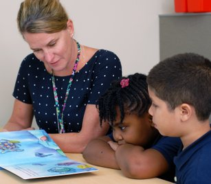 Teacher reading with students